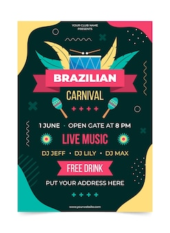 Шаблон плаката бразильский карнавал