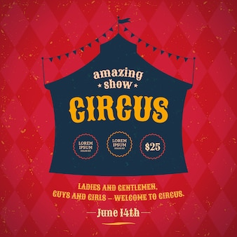 Poster template for the circus. silhouette circus tent.