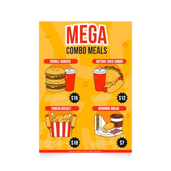 Poster template for combo meals
