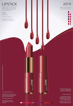 Poster template  cosmetic lipstick  illustration