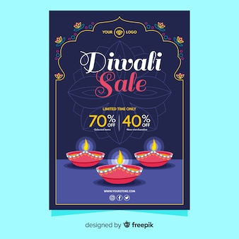 Poster template of diwali sale event