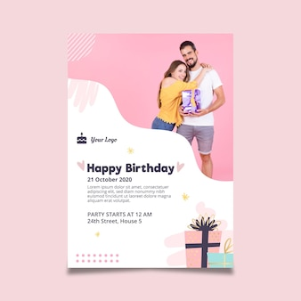 誕生日のお祝いのポスターテンプレート