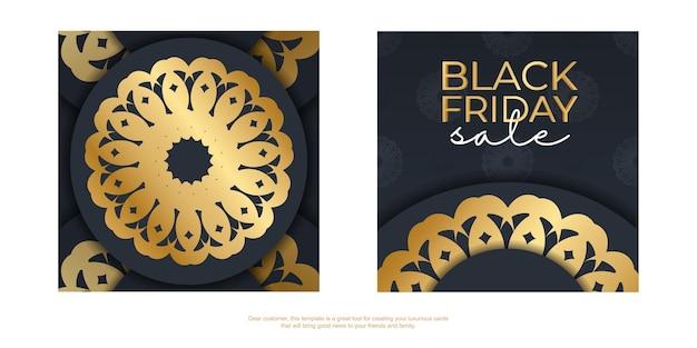 豪華な金の装飾が施された紺色の黒金曜日のポスターテンプレート