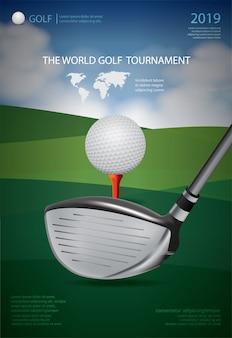 Шаблон постера для чемпиона по гольфу или турнира
