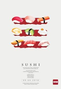 寿司レストランやスシバールのポスターテンプレート