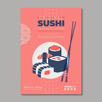 Шаблон постера для суши ресторана