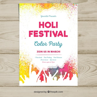 Poster template for the holi festival party