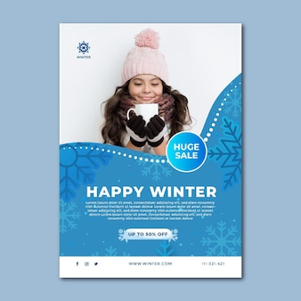 冬のセールのポスターテンプレート