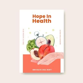 Шаблон плаката для всемирного дня здоровья концептуального дизайна для брошюры акварель иллюстрации