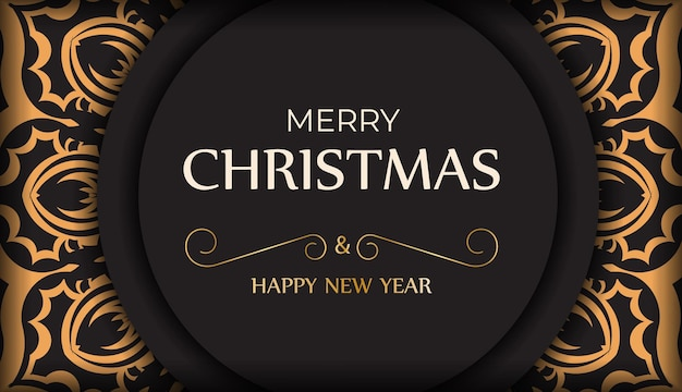 Poster template happy new year and merry christmas white color with winter ornament.