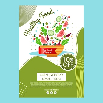 Poster template for healthy food restaurant