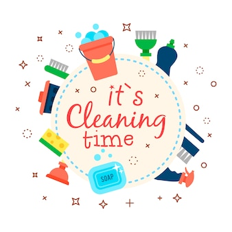 Poster template for house cleaning services with various cleaning items
