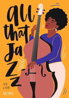 Poster template for jazz club event, music band performance or concert, with female musician playing double bass