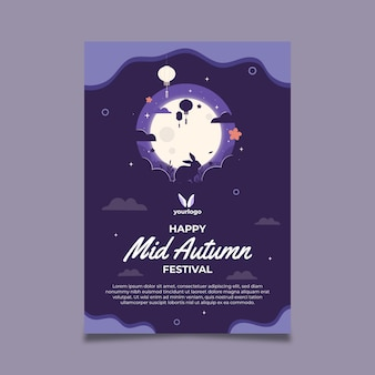 Poster template for mid autumn festival