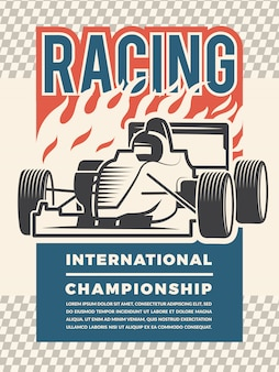 Poster template for motosport. vintage illustrations of racing cars