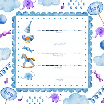 Poster template for newborn baby boy baby shower