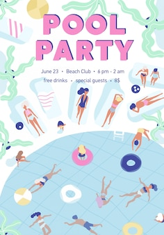 Poster template of summer pool party with people dressed in swimsuits, swimming, and sunbathing at resort.