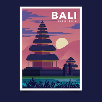 Poster template for travel with illustration