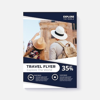Poster template for travel with photo