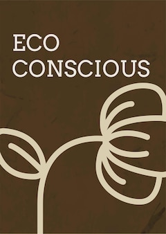 Poster template vector with eco conscious text in earth tone