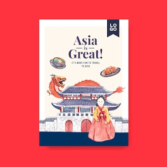Modello di poster con concept design di viaggio in asia per brochure e illustrazione di vettore dell'acquerello di marketing