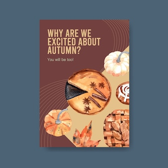 Poster template with autumn daily concept design for brochure and leaflet watercolor