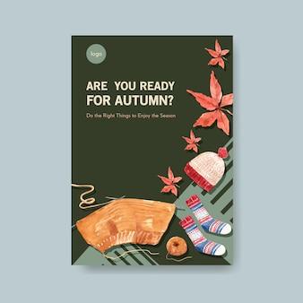 Шаблон плаката с осенним ежедневным концептуальным дизайном для брошюры и листовки акварель