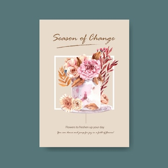 パンフレットやマーケティングの水彩イラストの秋の花のコンセプトデザインのポスターテンプレート。