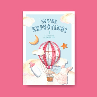 Poster template with baby shower design concept for advertise and marketing watercolor vector illustration.