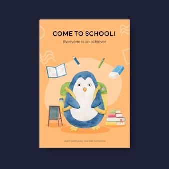 Modello di poster con concetto di ritorno a scuola e simpatici animali, stile acquerello