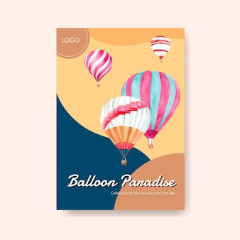 Poster template with balloon fiesta concept design for advertise and brochure watercolor vector illustration