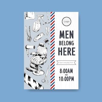 Шаблон плаката с концептуальным дизайном парикмахера.