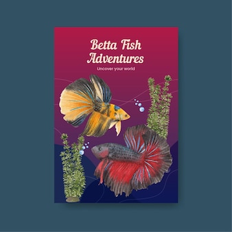 Poster template with betta fish in watercolor style