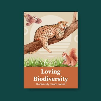 Poster template with biodiversity as natural wildlife species or fauna protection