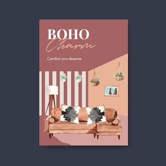 Modello di poster con concept design di mobili boho per brochure e illustrazione dell'acquerello di marketing