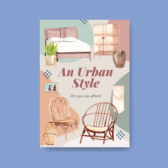 Poster template with boho furniture concept design for brochure and marketing watercolor illustration