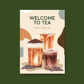 Шаблон плаката с концепцией пузырькового чая с молоком