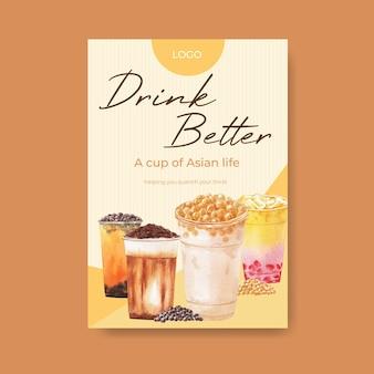 Шаблон плаката с пузырьковым чаем с молоком