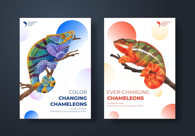 Poster template with chameleon lizard in watercolor style
