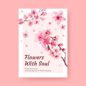 水彩イラストを宣伝およびマーケティングするための桜のコンセプトデザインのポスターテンプレート