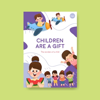 Poster template with children's day concept design