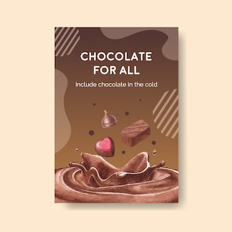 Poster template with chocolate winter concept design for brochure  and advertise watercolor vector illustration