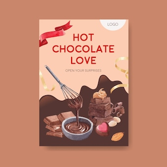 パンフレットのチョコレート冬のコンセプトデザインと水彩ベクトルイラストを宣伝するポスターテンプレート