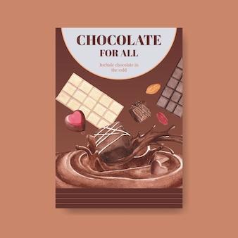 Шаблон плаката с шоколадной зимней концепцией дизайна для брошюры и рекламы акварельной векторной иллюстрации