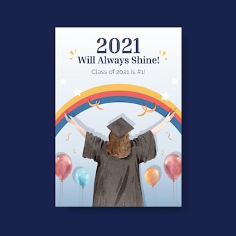 Poster template with class of 2021 in watercolor style