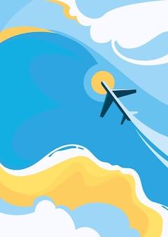 해안과 비행기와 포스터 템플릿입니다. 평면 디자인의 여행 컨셉 아트.