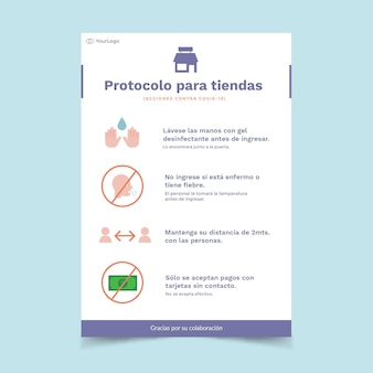 Poster template with coronavirus protocol for business