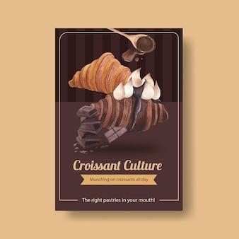 Шаблон плаката с концепцией круассана, акварель в стиле