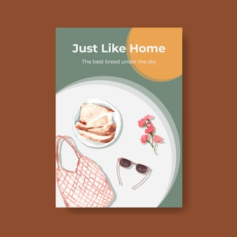 Poster template with european picnic concept design for advertise watercolor illustration.