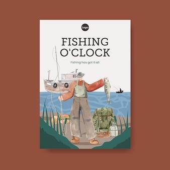 Шаблон плаката с концепцией рыболовного лагеря, акварельный стиль
